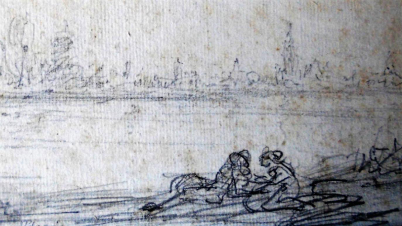CorsiArte_Giovanni Carnovali, Paesaggi con figure, 1850/60,  matita su carta, Collezione privata